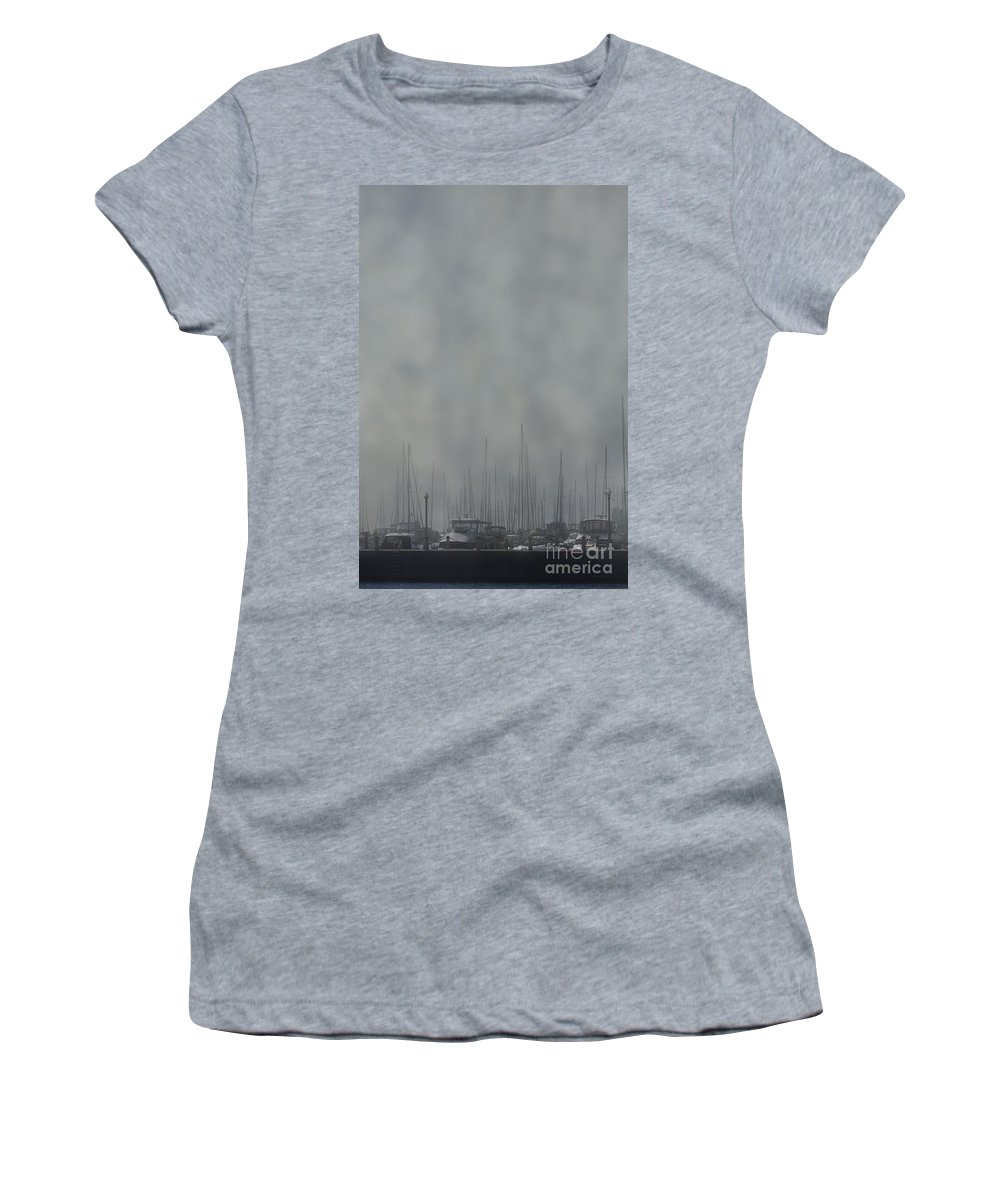 Boat; Docked; Pier; Dingy; Fog; Peaceful; Water; Sea; Ocean; Lake; River; Yacht; Harbor; Sail; Still; Hazy; Sailing; Marina; Mooring; Sport; Vessel Women's T-Shirt featuring the photograph Fogged In by Margie Hurwich