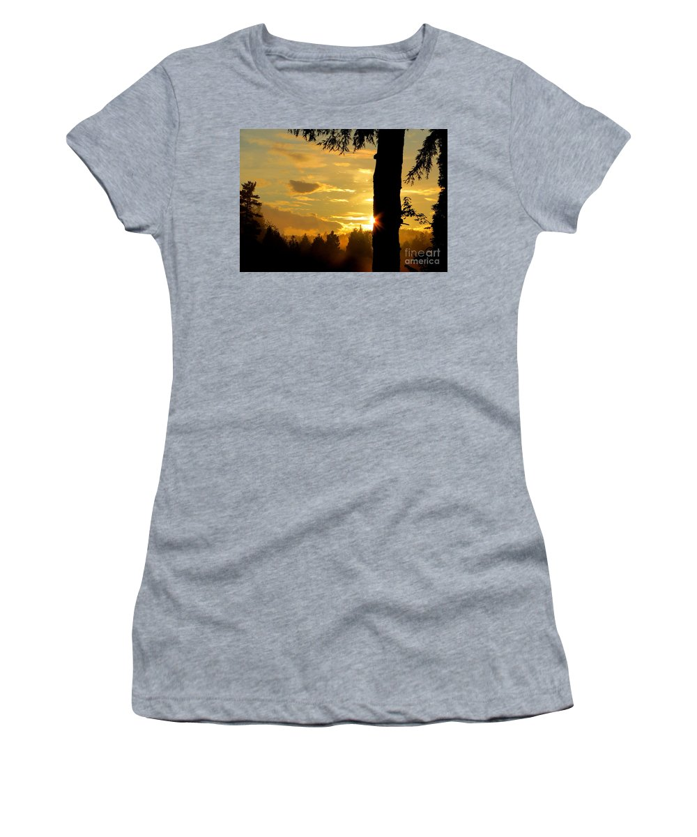 Fog Women's T-Shirt (Athletic Fit) featuring the photograph Backyard Sunset by Jaunine Roberts