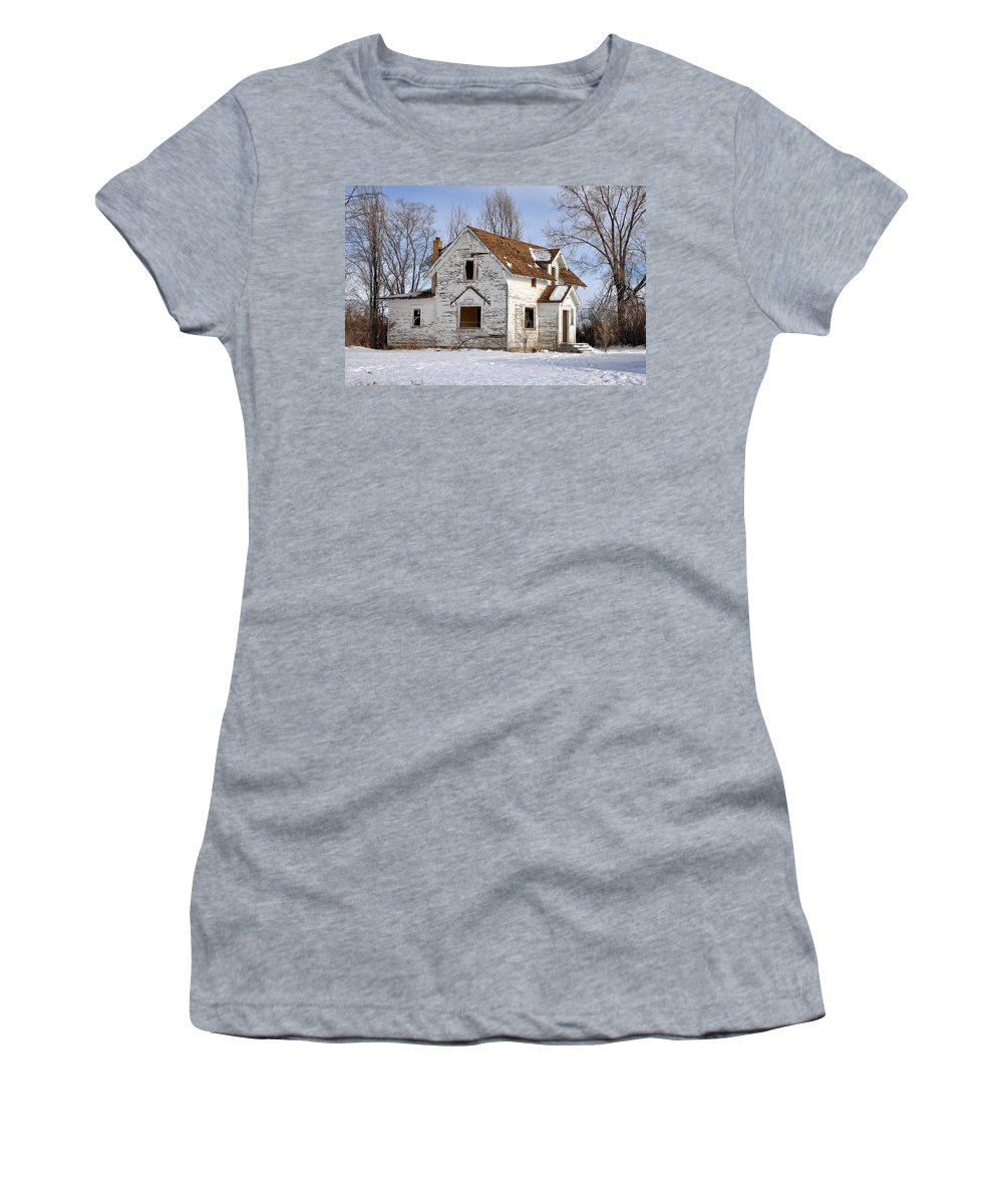 Idaho Falls Women's T-Shirt (Athletic Fit) featuring the photograph Footsteps In The Snow by Image Takers Photography LLC