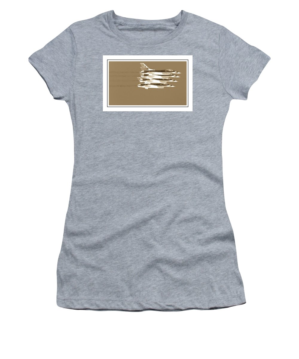 Air Show Women's T-Shirt featuring the photograph Four In A Row by Alice Gipson