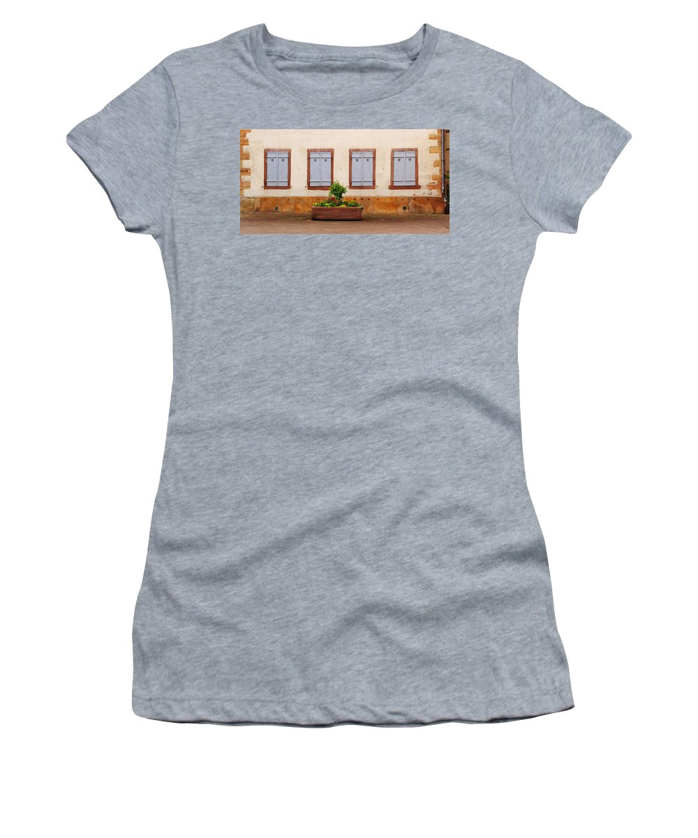 Shutters Women's T-Shirt featuring the photograph Four Pale Blue Shutters In Alsace France by Greg Matchick