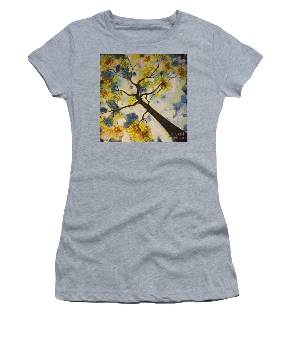 Impressionism Women's T-Shirt featuring the painting Friends In The City by Stefan Duncan