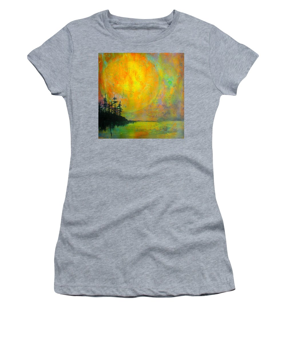 Full Moon Women's T-Shirt featuring the painting Full Moon by Nikol Wikman