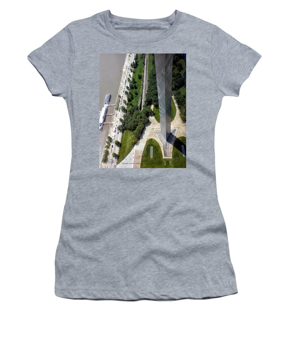 St Louis Women's T-Shirt (Athletic Fit) featuring the photograph Gateway Arch St Louis 11 by Thomas Woolworth