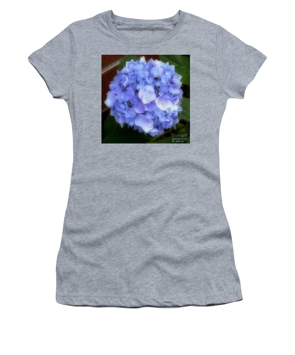 Hydrangea Women's T-Shirt (Athletic Fit) featuring the photograph Gauzy Blues by RC DeWinter