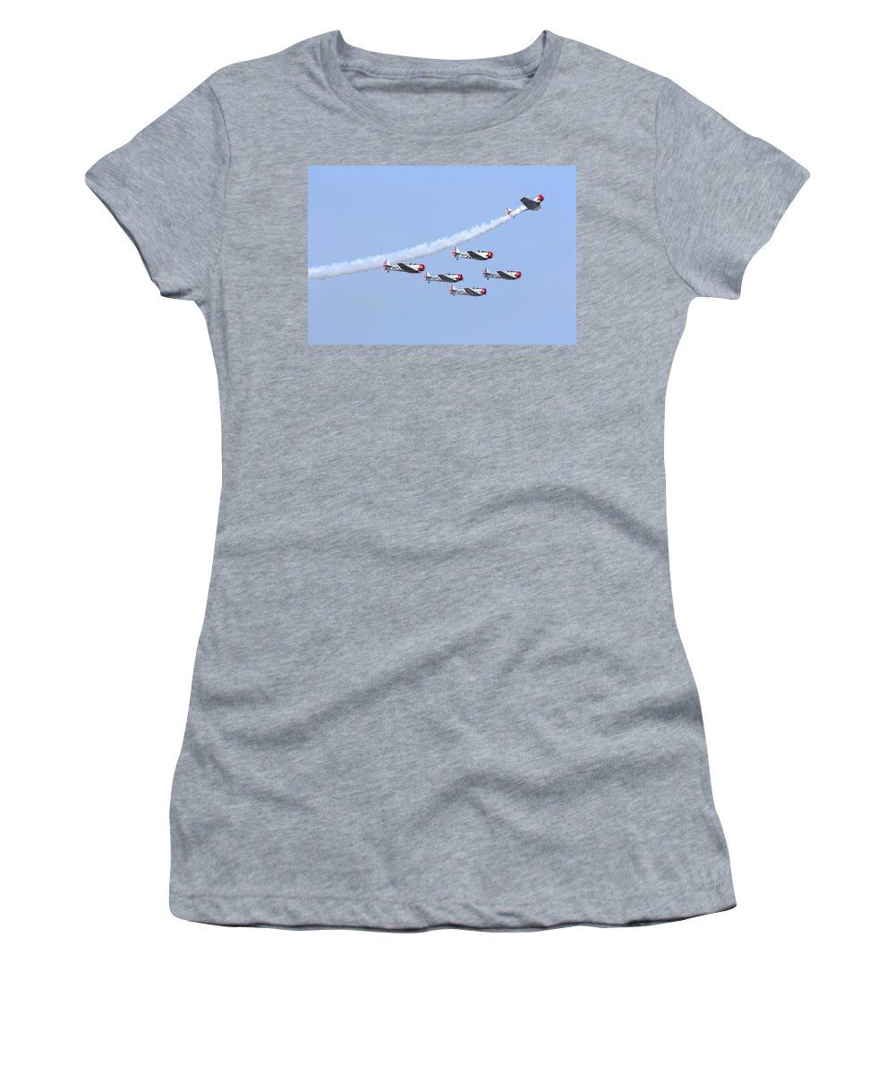 #aircraft Women's T-Shirt (Athletic Fit) featuring the photograph Geico Skytypers by Debbie Nobile