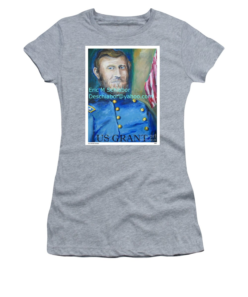 Grant Artwork Women's T-Shirt (Athletic Fit) featuring the painting General Us Grant by Eric Schiabor