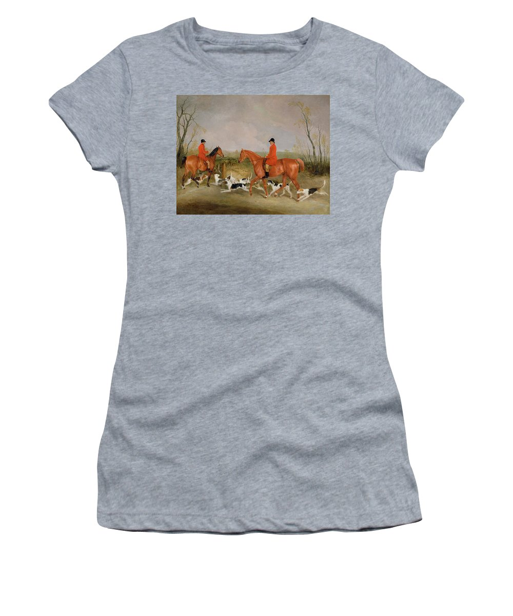 Fox Hunting Women's T-Shirt featuring the painting George Mountford, Huntsman To The Quorn, And W. Derry, Whipper-in, At John Ogaunts Gorse, Nr Melton by Richard Barrett Davis