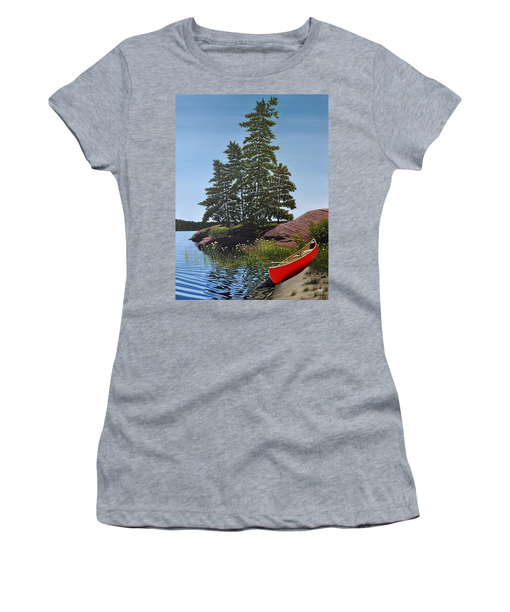 Landscapes Women's T-Shirt featuring the painting Georgian Bay Beached Canoe by Kenneth M Kirsch