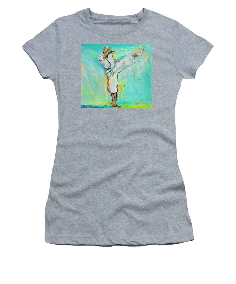 Jerry Sensei Women's T-Shirt (Athletic Fit) featuring the painting Gertjan Sensei by Lucia Hoogervorst