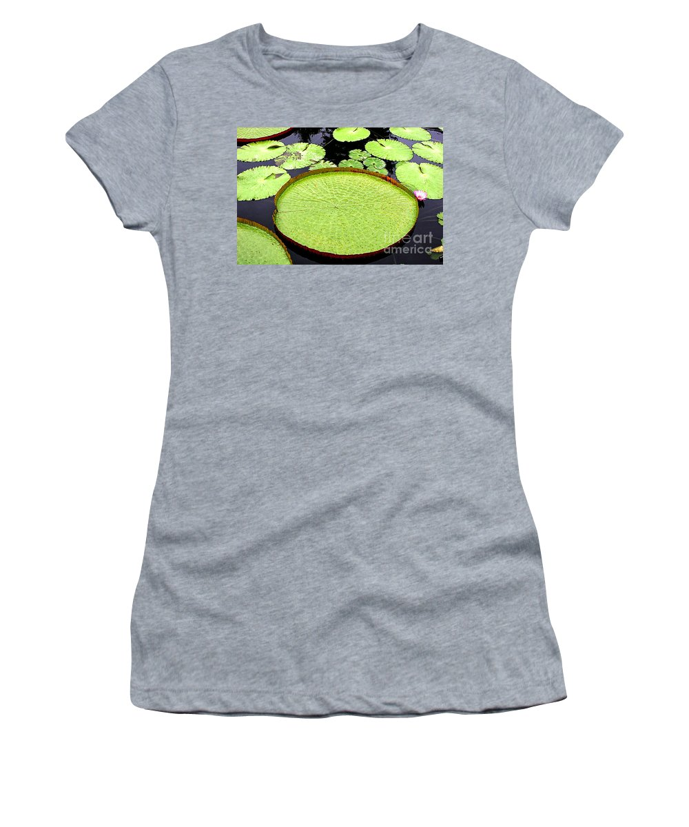 Water Lily Women's T-Shirt featuring the photograph Giant Amazon Lily Pads by Timothy Hacker