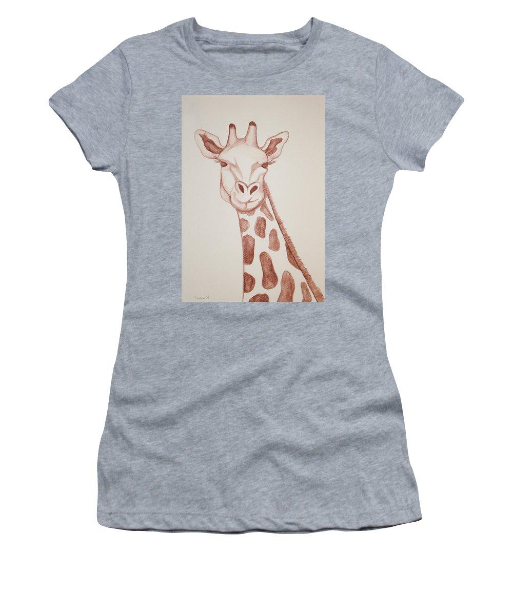Rick Huotari Women's T-Shirt featuring the painting Giraffe by Rick Huotari