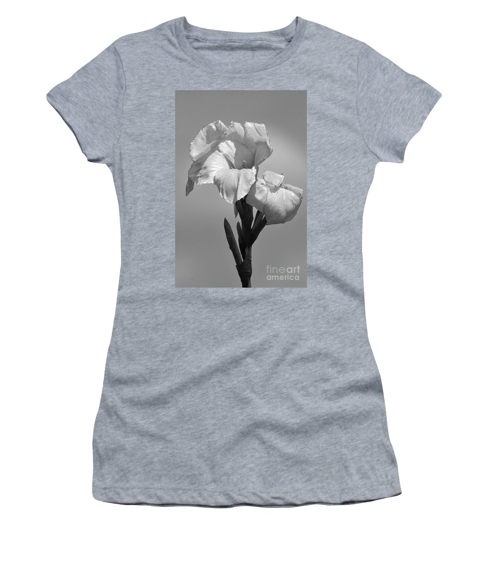 Flower Women's T-Shirt featuring the photograph Gladiola In Black And White by Cindy Manero