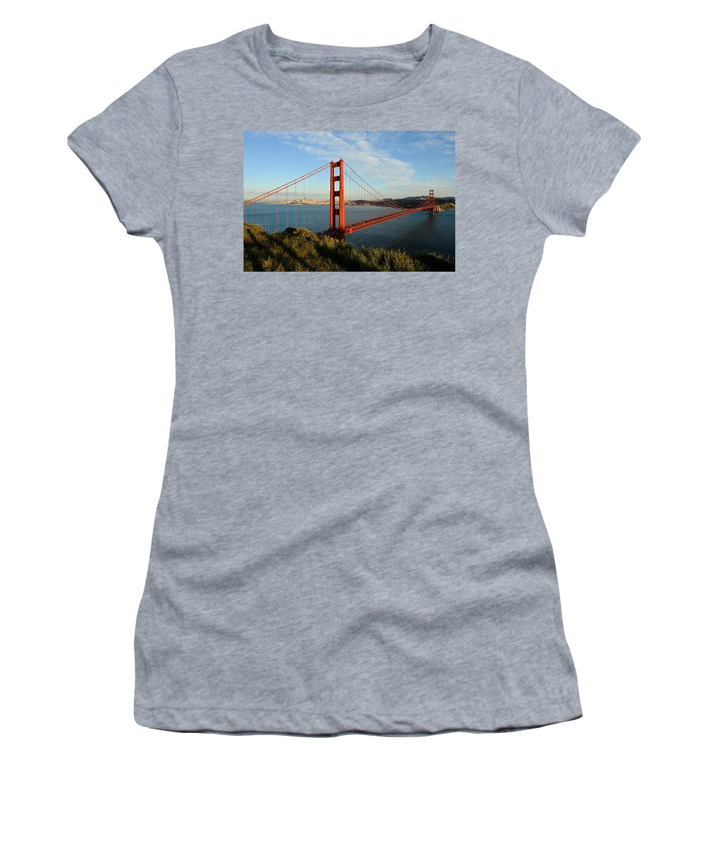 California Women's T-Shirt (Athletic Fit) featuring the photograph Golden Gate At Sunset by Geoffrey Bolte