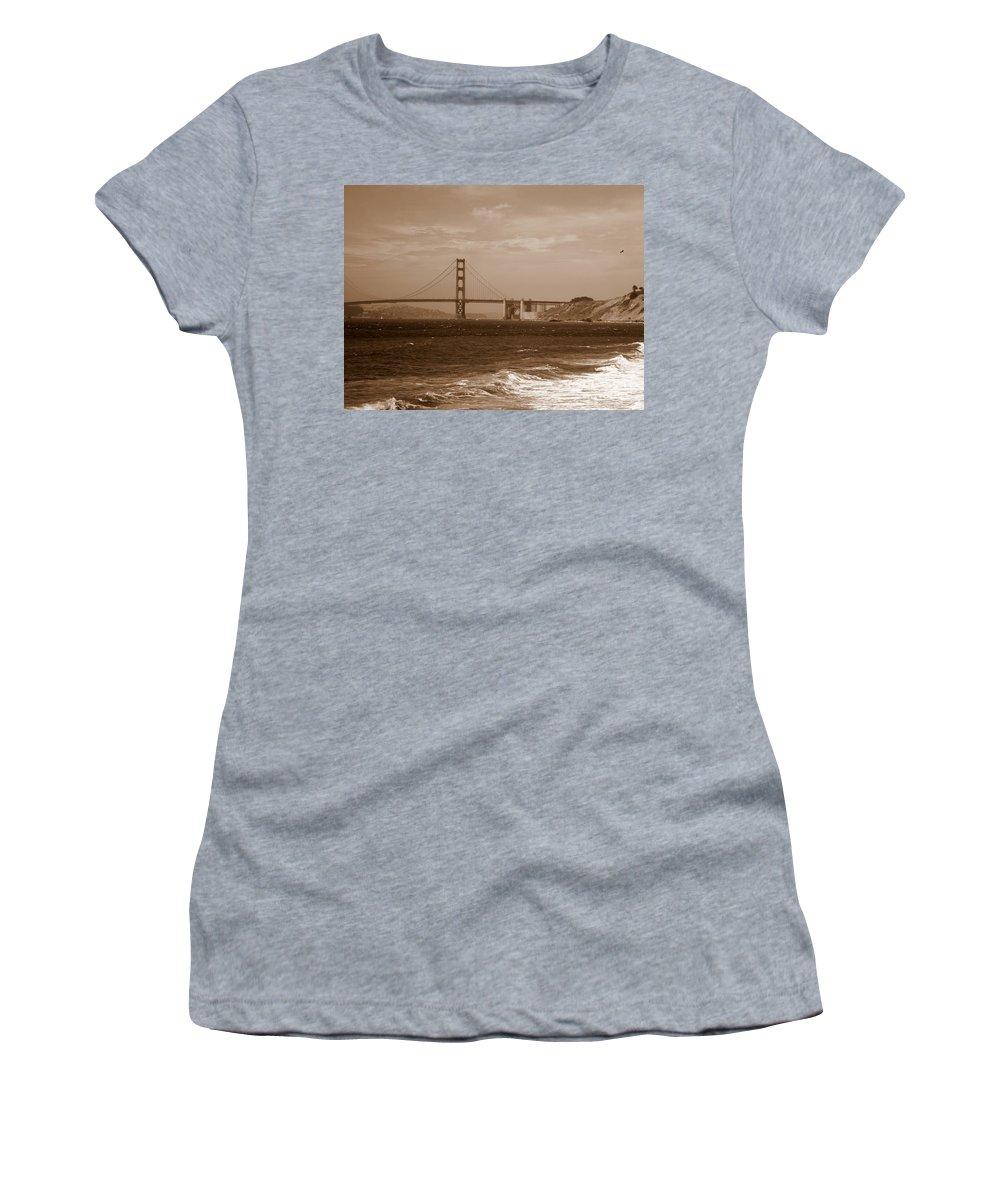 Golden Gate Bridge Women's T-Shirt (Athletic Fit) featuring the photograph Golden Gate Bridge With Surf Sepia by Carol Groenen