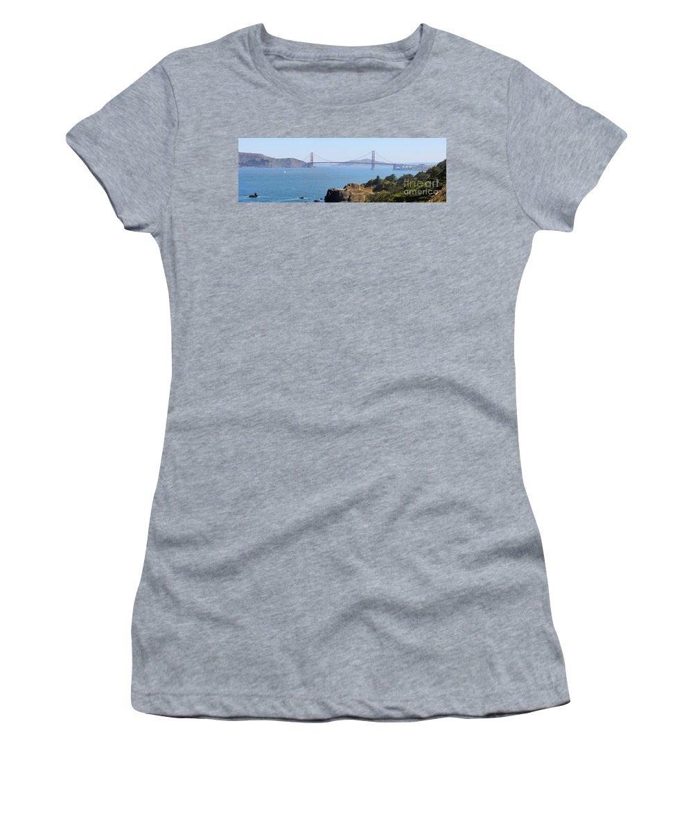 Golden Gate Bridge Women's T-Shirt featuring the photograph Golden Gate Panorama 8027 8030 by Jack Schultz