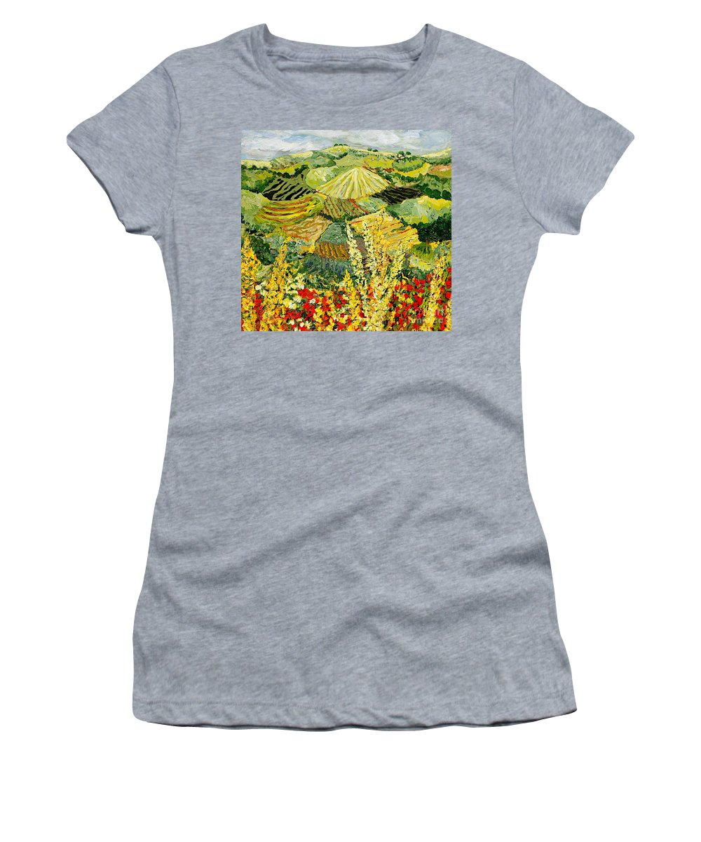 Landscape Women's T-Shirt (Athletic Fit) featuring the painting Golden Hedge by Allan P Friedlander