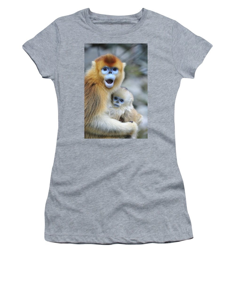 Feb0514 Women's T-Shirt (Athletic Fit) featuring the photograph Golden Snub-nosed Monkey And Young China by Thomas Marent