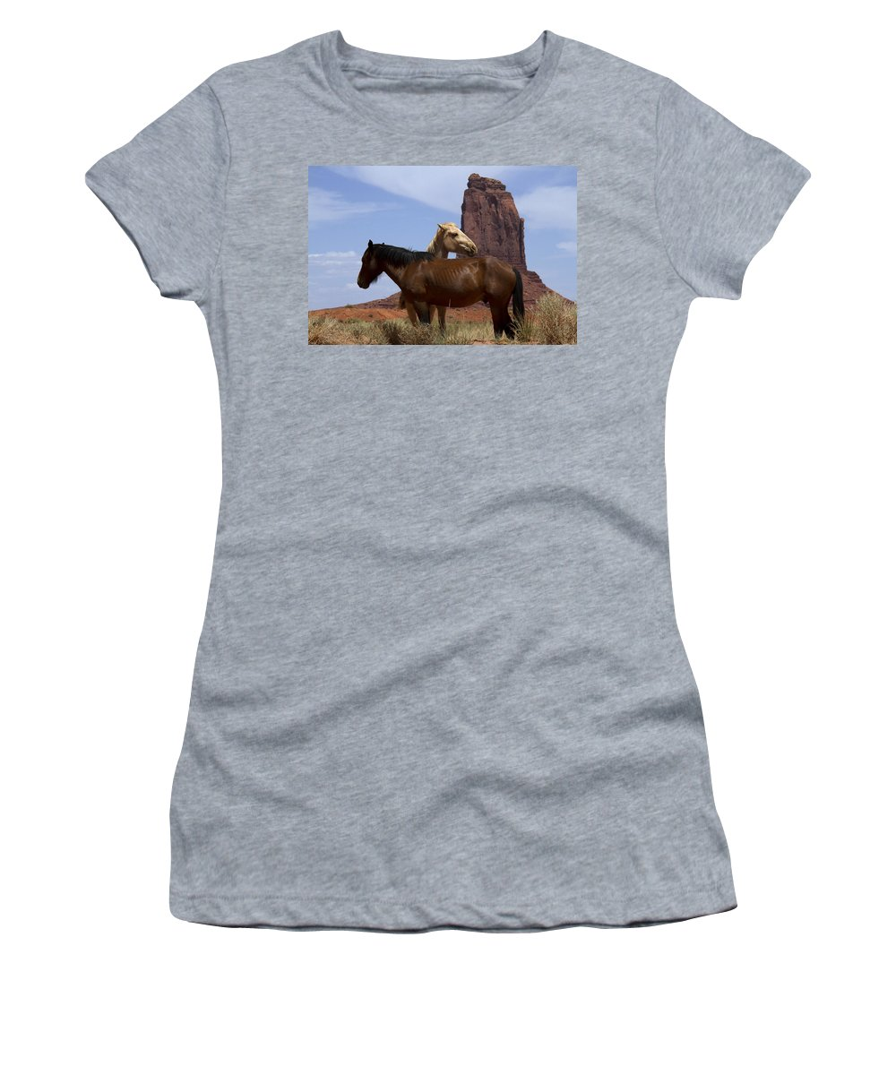 Wild Horses Women's T-Shirt featuring the photograph Got Your Back by Debby Richards