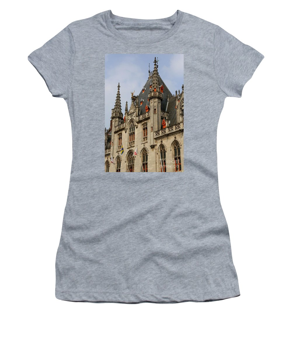 Bruges Women's T-Shirt (Athletic Fit) featuring the photograph Gothic Bruges by Carol Groenen
