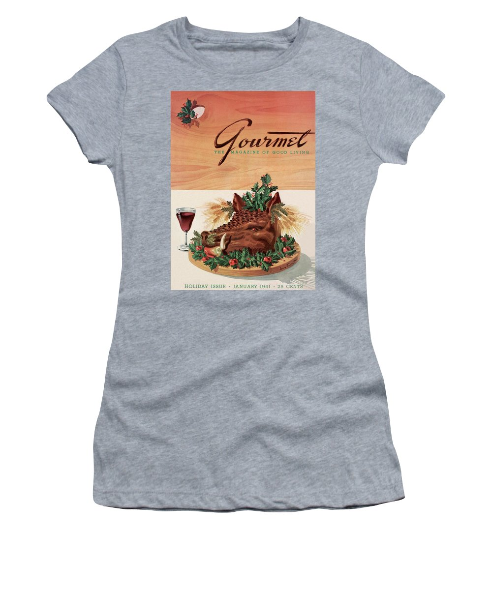 Fashion Women's T-Shirt featuring the photograph Gourmet Cover Featuring A Boar's Head by Henry Stahlhut