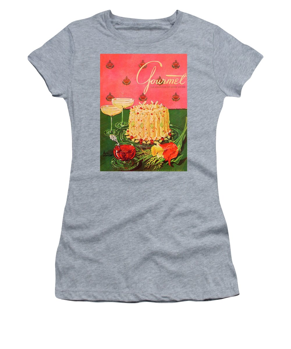 Illustration Women's T-Shirt featuring the photograph Gourmet Cover Illustration Of A Molded Rice by Henry Stahlhut