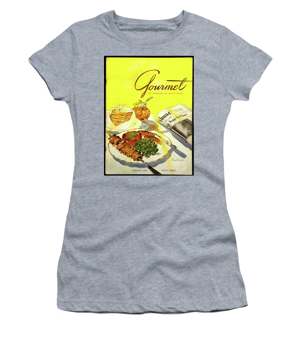 Illustration Women's T-Shirt featuring the photograph Gourmet Cover Illustration Of Grilled Breakfast by Henry Stahlhut