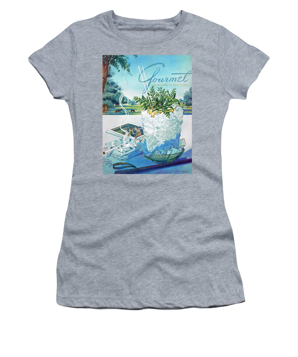 Food Women's T-Shirt featuring the photograph Gourmet Cover Illustration Of Mint Julep Packed by Henry Stahlhut