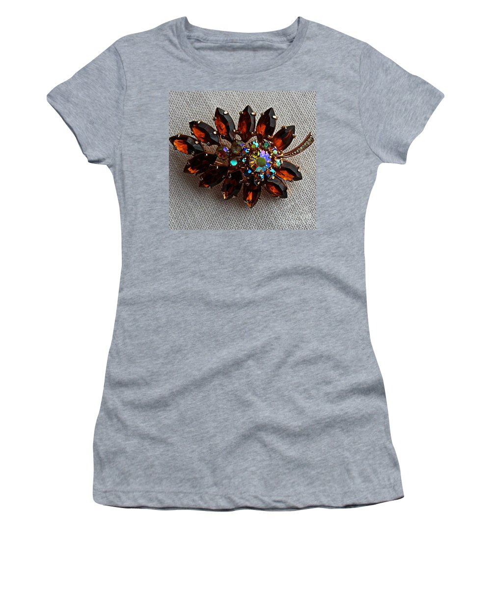 Grandmas Topaz Brooch Women's T-Shirt (Athletic Fit) featuring the jewelry Grandmas Topaz Brooch - Treasured Heirloom by Barbara Griffin