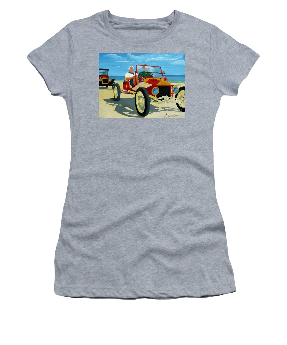 Cars Women's T-Shirt (Athletic Fit) featuring the painting Granpas Racer by Anthony Dunphy