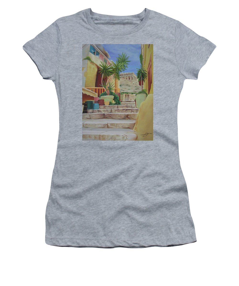 Greece Women's T-Shirt (Athletic Fit) featuring the painting Greece by Joshua Morton