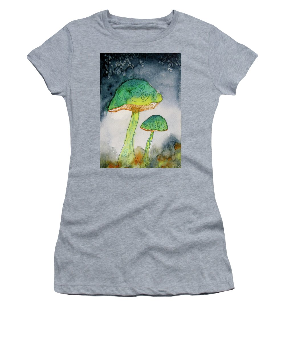 Watercolor Women's T-Shirt featuring the painting Green Dreams by Beverley Harper Tinsley