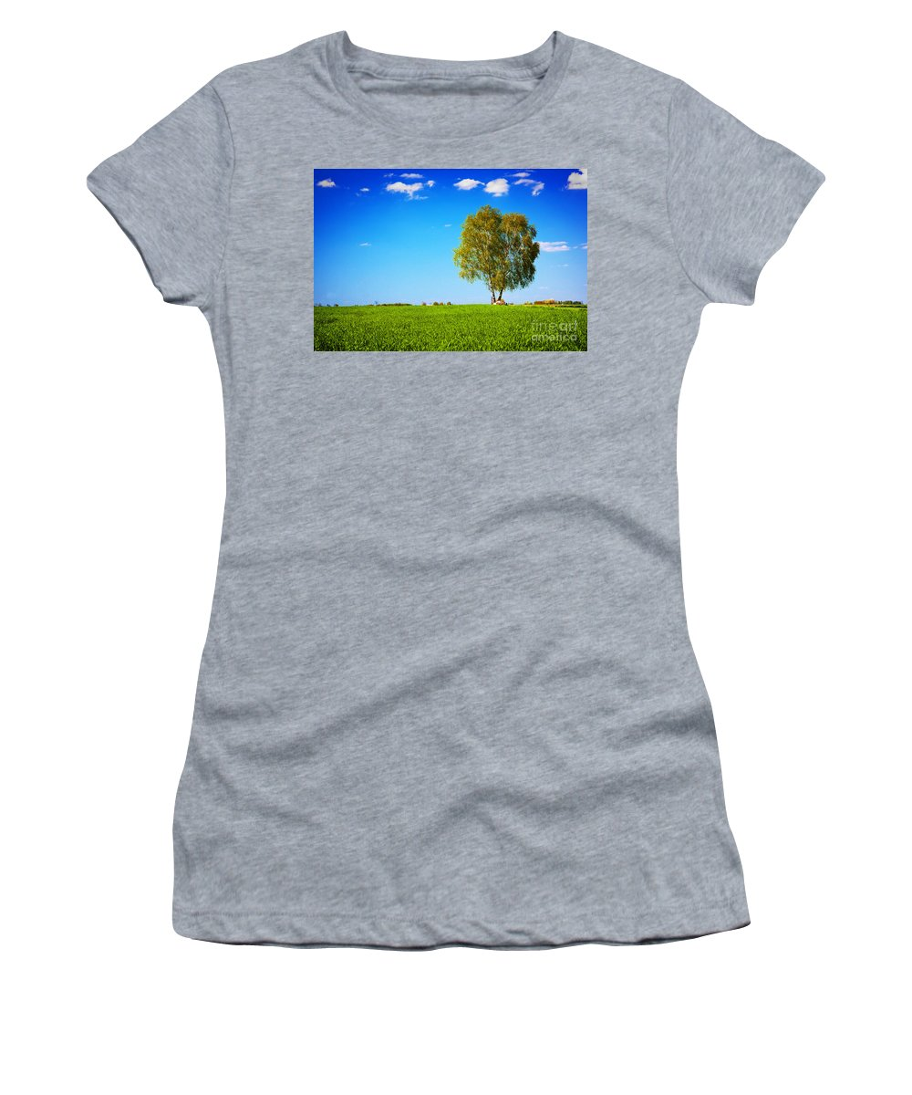 Grass Women's T-Shirt featuring the photograph Green Field Landscape With A Single Tree by Michal Bednarek