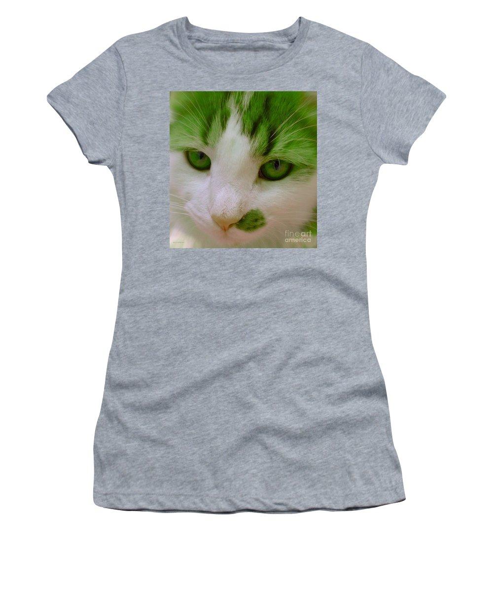 Green Kitten Women's T-Shirt featuring the photograph Green Kitten by Anita Lewis