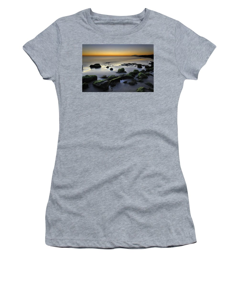 Sunset Women's T-Shirt (Athletic Fit) featuring the photograph Green Rocks At Sunset by Guido Montanes Castillo
