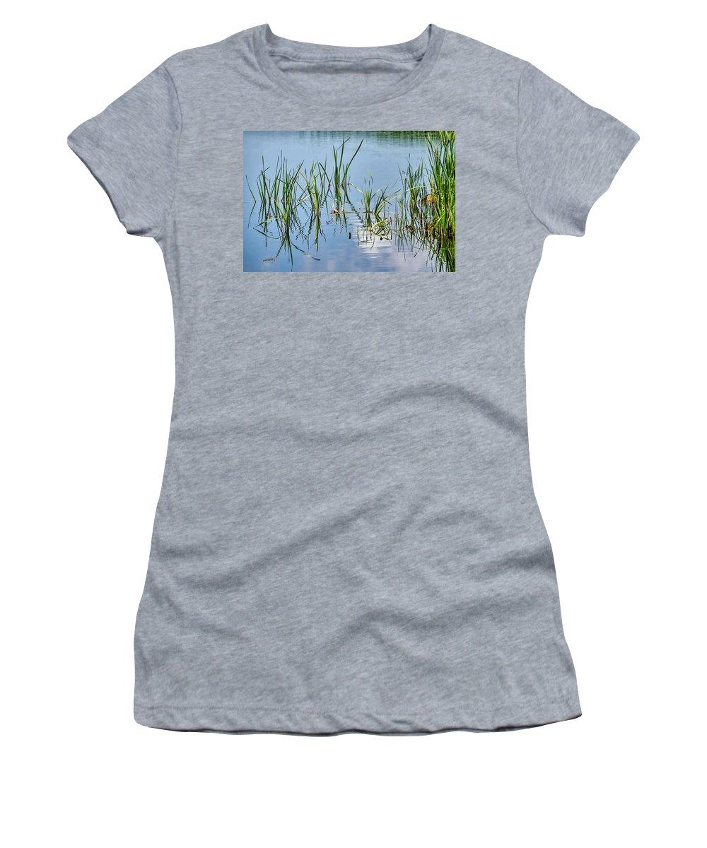 Greylake Women's T-Shirt featuring the photograph Greylake Reflections by Susie Peek