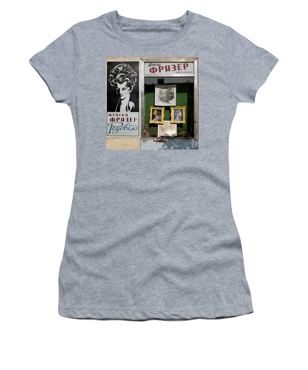 Serbia Belgrade Women's T-Shirt (Athletic Fit) featuring the photograph Hairdresser. Belgrade. Serbia by Juan Carlos Ferro Duque