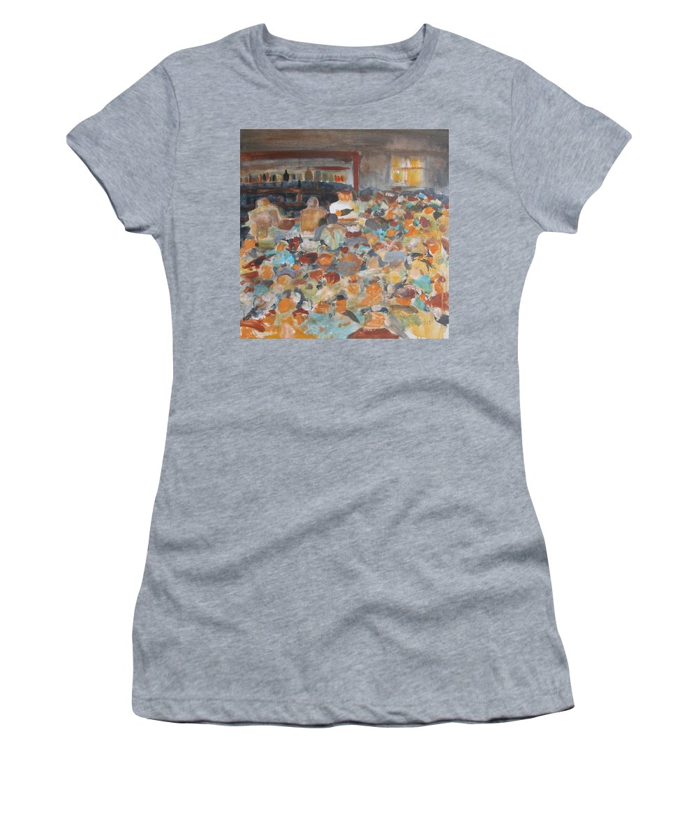 Bar Women's T-Shirt featuring the painting Happy Hour by Rhodes Rumsey