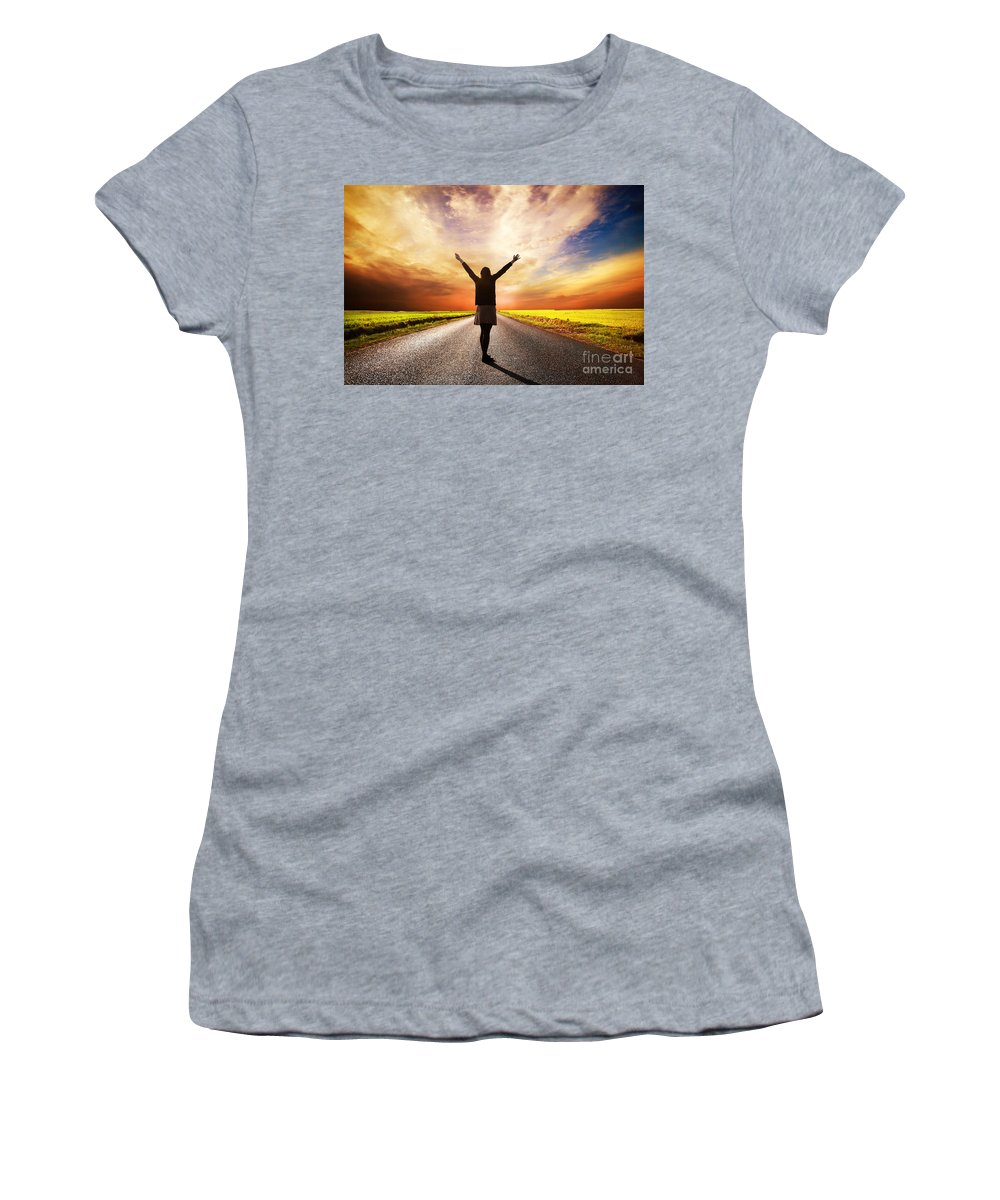 Road Women's T-Shirt featuring the photograph Happy Woman Standing On Long Road At Sunset by Michal Bednarek