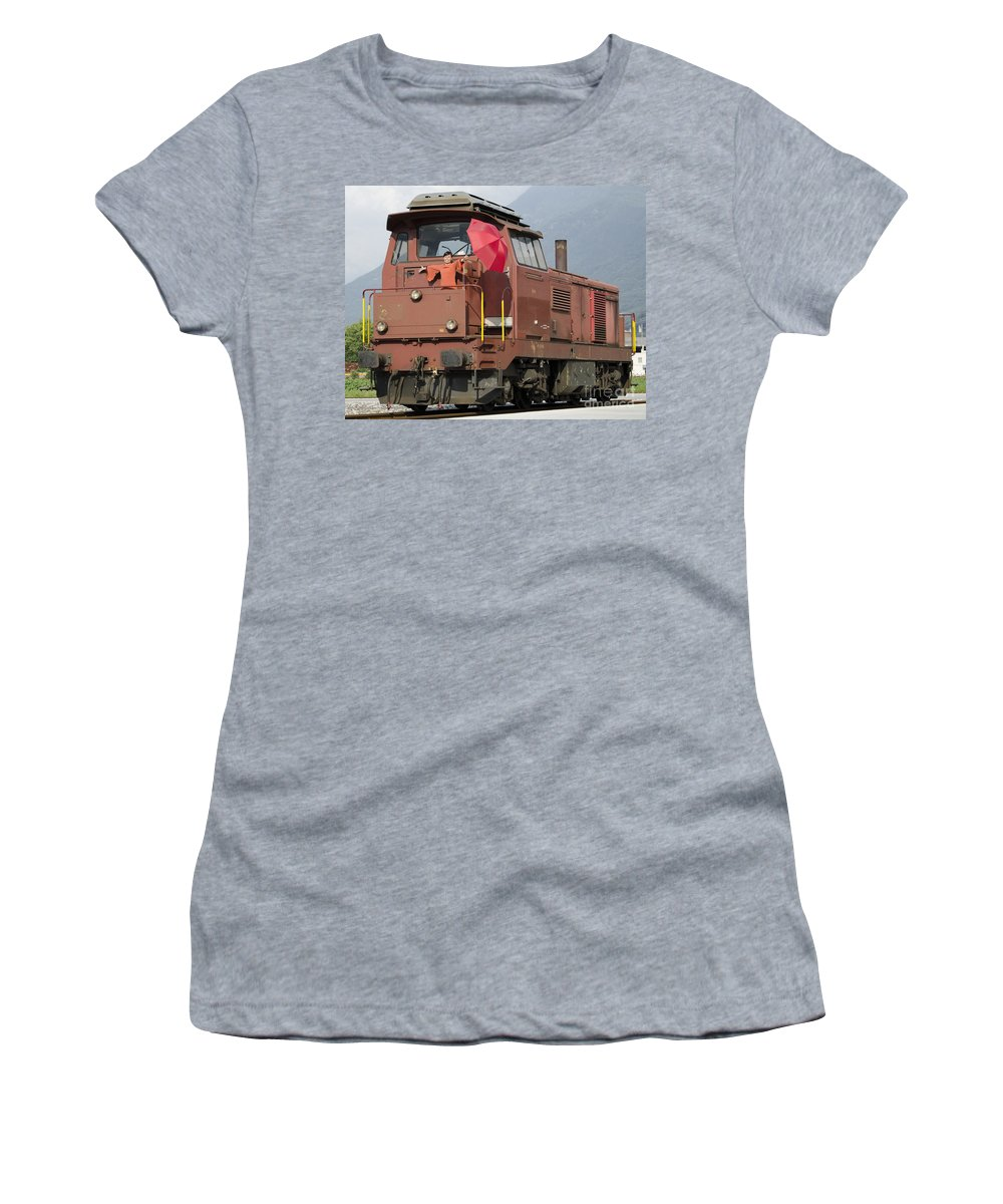 Woman Women's T-Shirt featuring the photograph Happy Woman Standing On Train by Mats Silvan