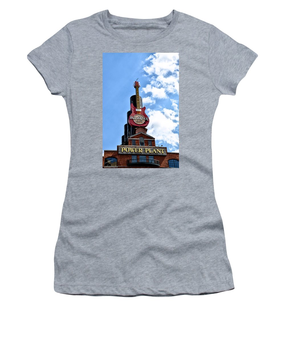 Hard Women's T-Shirt (Athletic Fit) featuring the photograph Hard Rock Cafe - Baltimore by Bill Cannon