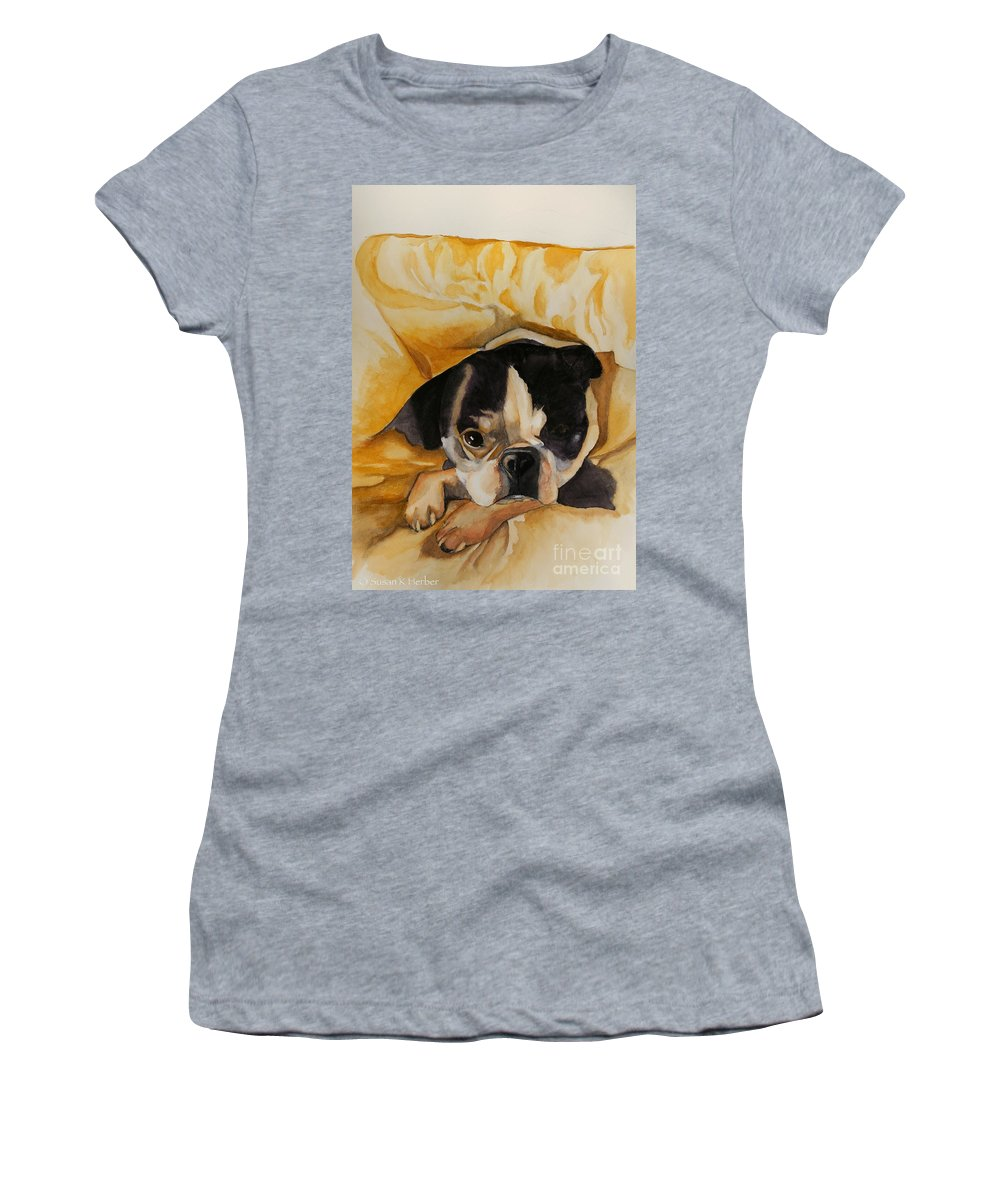 Animal Women's T-Shirt (Athletic Fit) featuring the painting Harold's Bed by Susan Herber