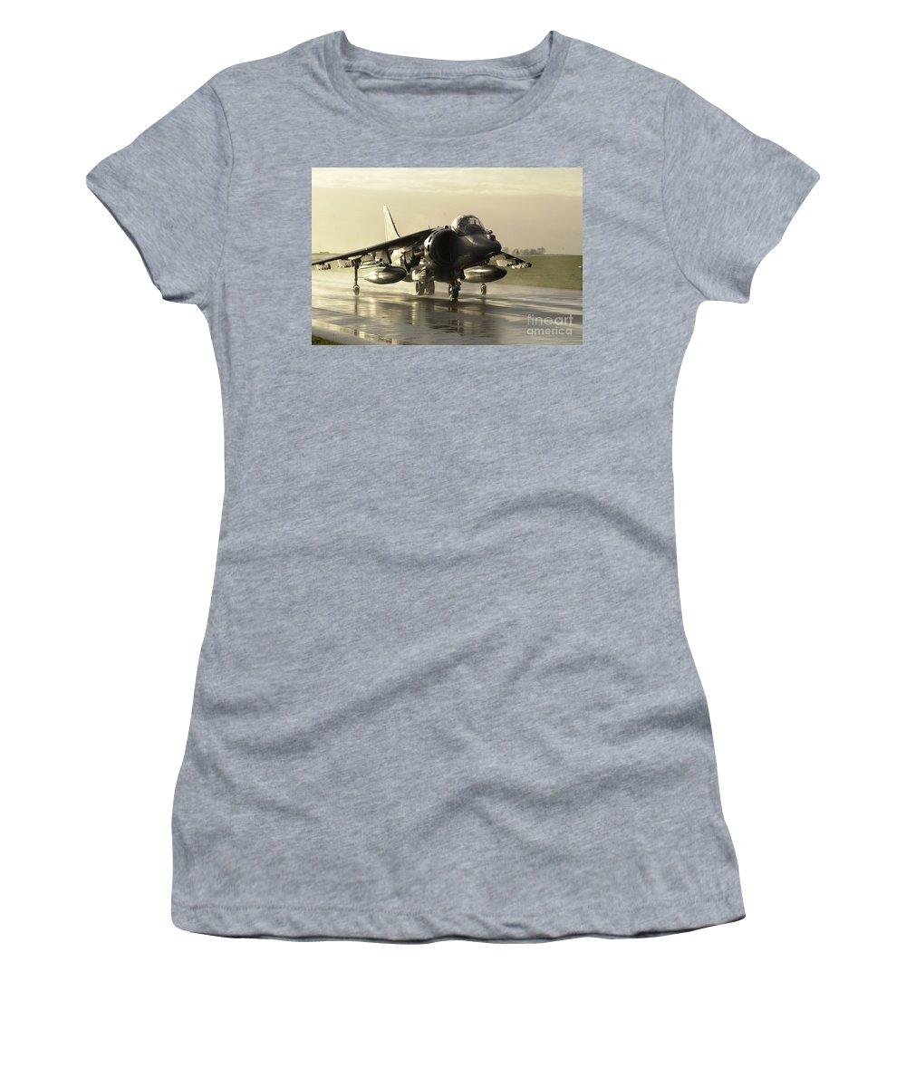 Airfield Women's T-Shirt featuring the photograph Harrier Gr7 by Paul Fearn
