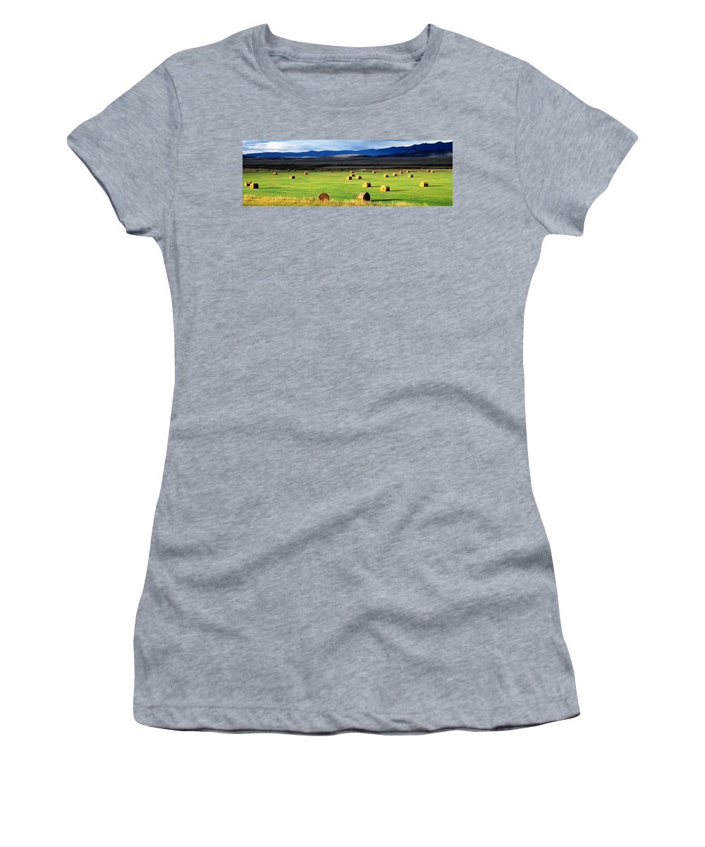 Photography Women's T-Shirt featuring the photograph Haystacks, Field, Jackson County by Panoramic Images