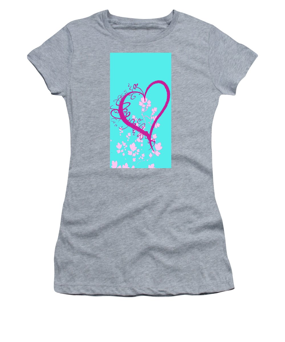Hearts Women's T-Shirt featuring the digital art Hearts And Vines by Paulette B Wright