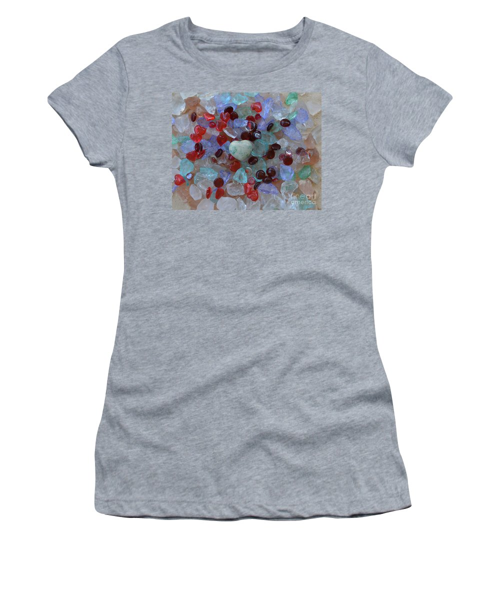 Heart Women's T-Shirt featuring the photograph Hearts On Sea Glass by To-Tam Gerwe