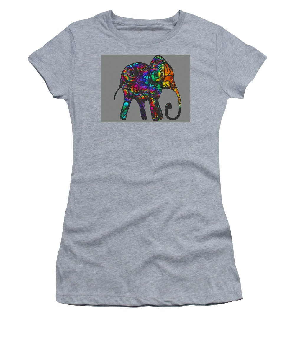 Elephant Women's T-Shirt featuring the drawing Herd Of Colors by Ellsbeth Page
