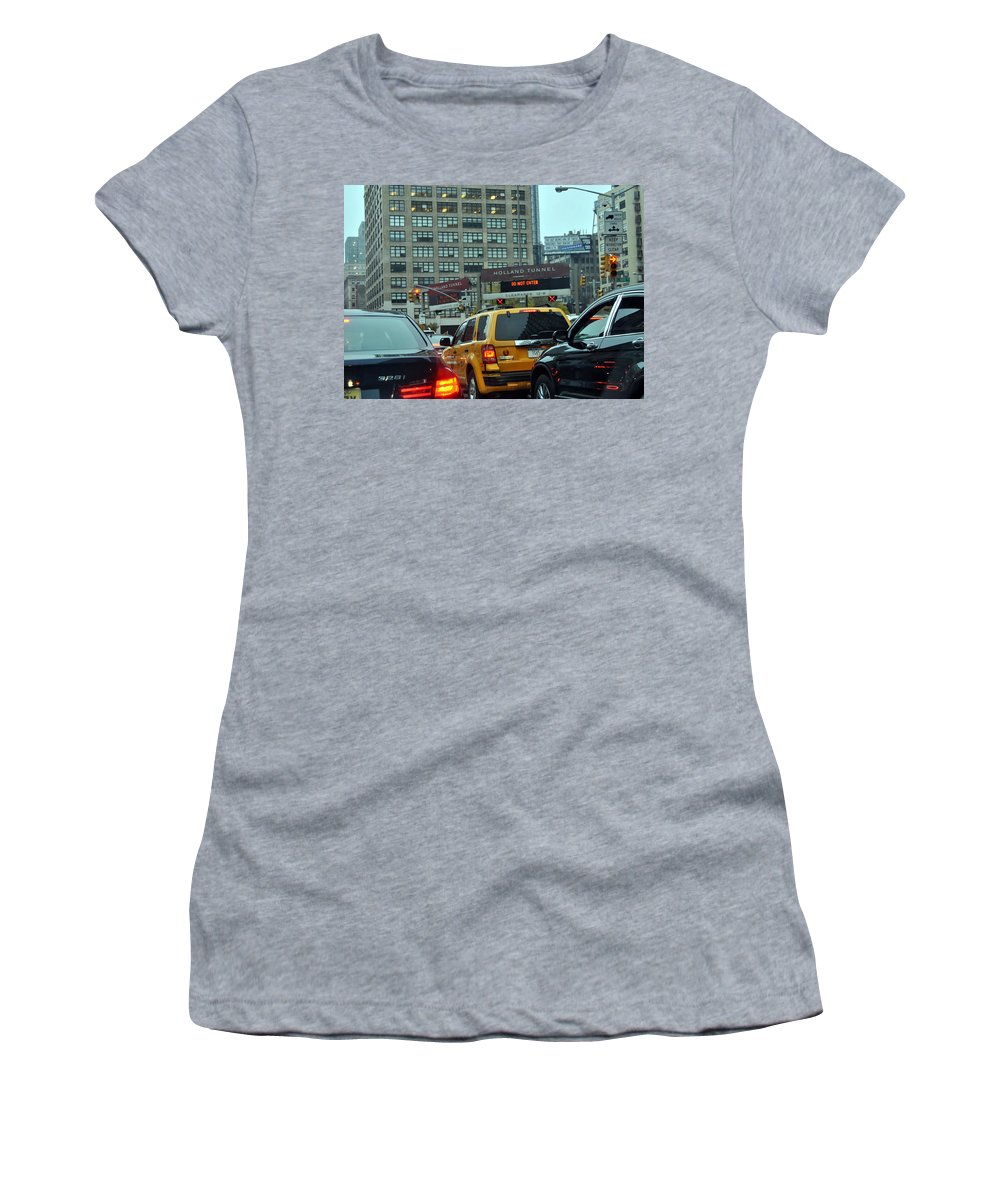 New York City Women's T-Shirt featuring the photograph Holland Tunnel Traffic by Christine Crowley