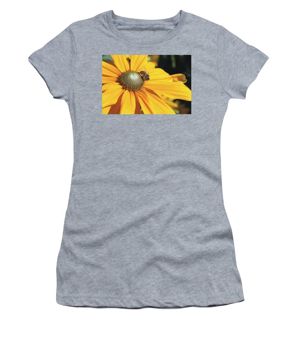 Dahlia Women's T-Shirt featuring the photograph Honey Bee And Yellow Dahlia Flower by Jit Lim