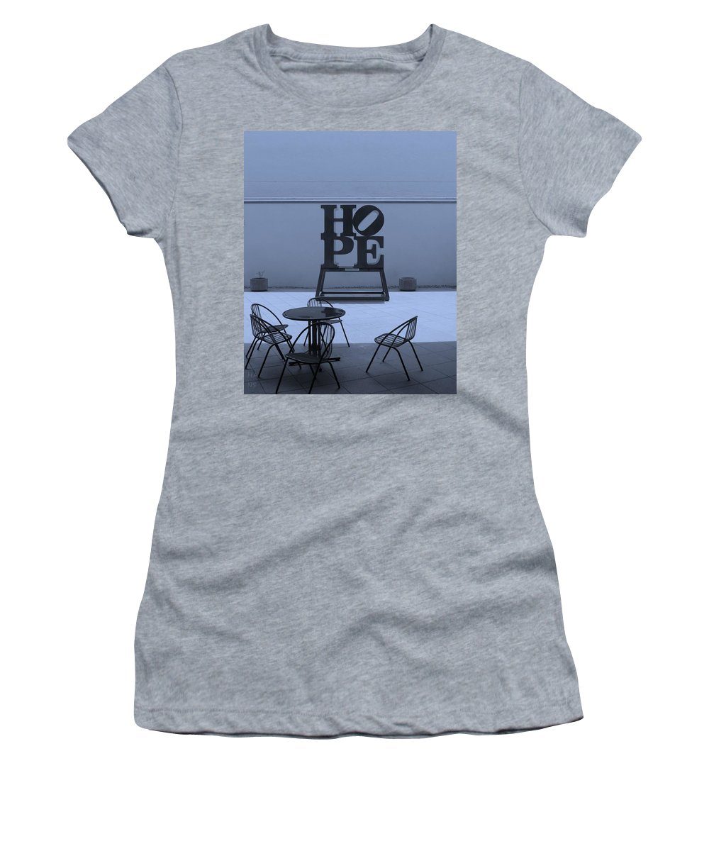 Hope Women's T-Shirt (Athletic Fit) featuring the photograph Hope And Chairs In Cyan by Rob Hans